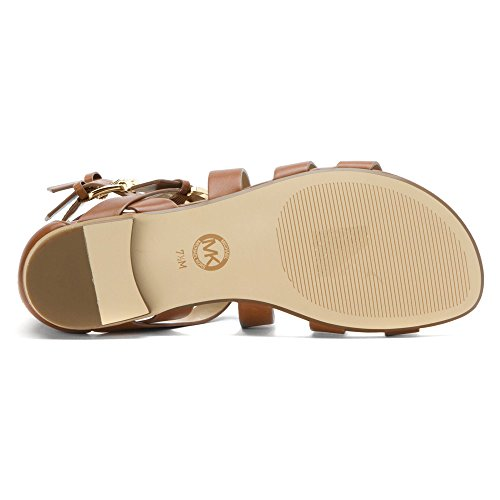 Scarpe Sandalo Donna MICHAEL KORS Jocelyn Flat Sandal Luggage Pelle Marrone New