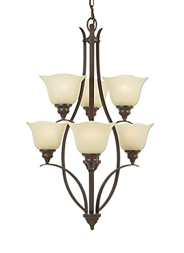 Three Light Two Tier (Murray Feiss F2051/3+3GBZ Morningside Three + Three Light, Two Tier Chandelier in Grecian Bronze and Cream Snow Glass)