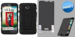 Combo pack ASMYNA Black/Black Car Armor Stand Protector Cover (Rubberized) for LG MS323 (Optimus L70) LG VS450PP (Optimus Exceed 2) And MYBAT Privacy Screen Protector for LG MS323 (Optimus L70)