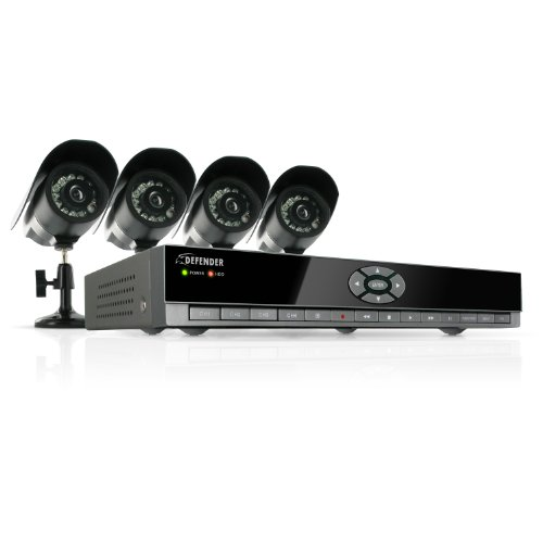 Defender SN502-4CH-002 Feature-Rich 4-Channel H.264 DVR Security System with Smartphone Access and 4 Indoor/Outdoor Hi-Res CCD Night Vision Cameras