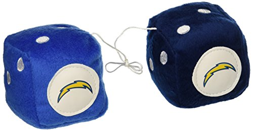 NFL Los Angeles Chargers Fuzzy Dice,one lt. blue, one blue w/ - Diego Outlet Shopping San