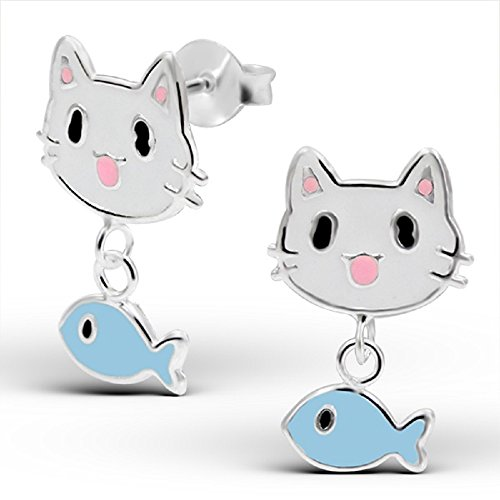 Price comparison product image 925 Sterling Silver Cat w/ Dangling Fish Stud Earrings 14175