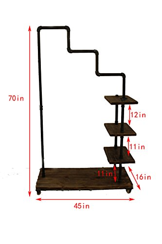 Diwhy Industrial Pipe Clothing Rack Pine Wood Shelving Shoes Rack Cloth Hanger Pipe Shelf 4 Layer by Diwhy (Image #2)