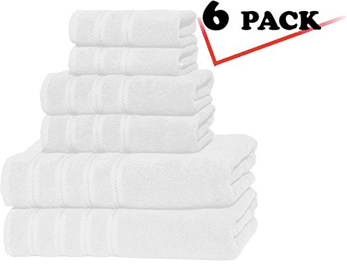 Premium, Luxury Hotel & Spa, 6 Piece Towel Set, 100% Genuine Turkish Cotton for Maximum Softness and Absorbency by American Soft Linen, [Worth $78.95] (WHITE)