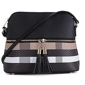 SG SUGU Lightweight Medium Dome Crossbody Bag Shoulder Bag with Tassel | Plaid Pattern