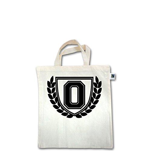 Anfangsbuchstaben - O Collegestyle - Unisize - Natural - XT500 - Fairtrade Henkeltasche / Jutebeutel mit kurzen Henkeln aus Bio-Baumwolle