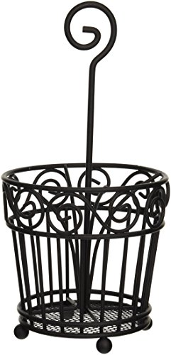 Spectrum Diversified Scroll Silverware Caddy, Black
