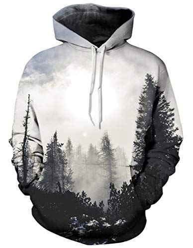 Halloween Cosplay Capuche Sweat Hommes Plus Forêt Sweats 3d À Galaxie Chandail Grise Ocean Fantaisie Unique Tx08qgq