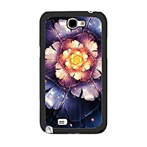Unique Bright Colors Glitter Flower Case Cover for Samsung Galaxy Note 2 N7100 Sparkle Floral Print Cell Phone Case Skin