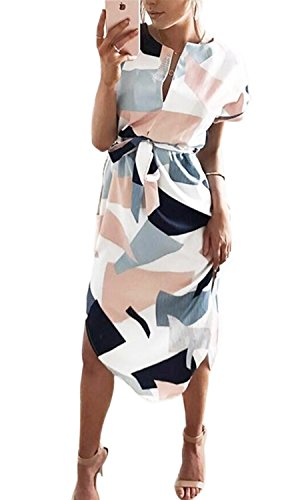 PiePieBuy Women Sexy V-Neck Printing Short Sleeve Summer Beach Casual Dress Tie Waist Dress (X Large) (Dress Tie Printed Empire)