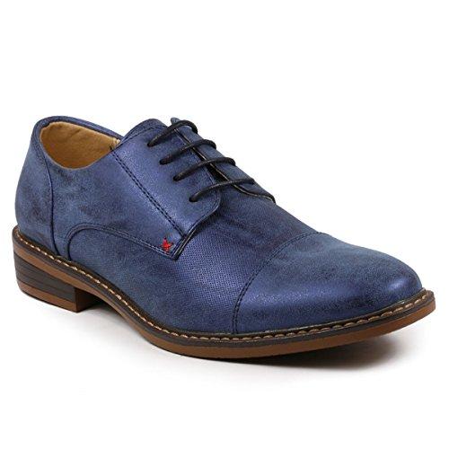 Metrocharm MC600 Men's Lace Up Cap Toe Fashion Classic Dress Shoe (12, Blue) (Blue Dress Shoes)