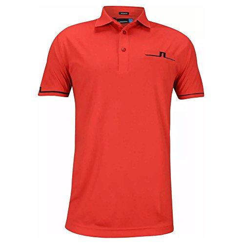 J.Lindeberg Men's Peter Tx Jersey Polo Shirt, Racing red Large (Polo Mens Racing)