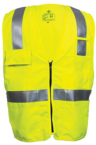 National Safety Apparel V21TV2ZXL Deluxe Class 2 FR Hi-Vis Safety Vest, X-Large, Fluorescent Yellow by National Safety Apparel Inc