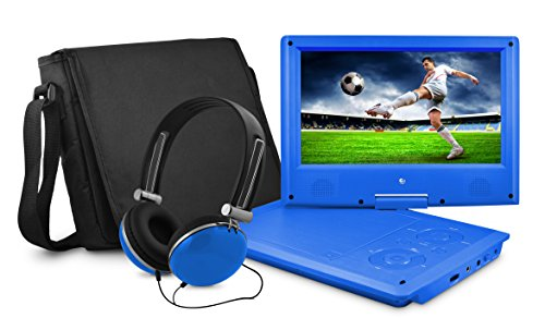 Ematic Personal DVD Player with 9-Inch Swivel Screen, Headphones, Carrying Case, Blue