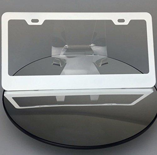 - Matte White Powder Coated 100% Stainless Steel License Plate Frame Holder Tag Ka Legend