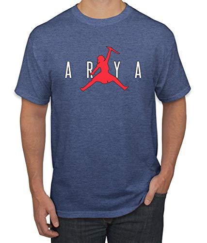 Air Arya Dagger Not Today GoT Thrones Stark Fan | Mens Pop Culture Graphic T-Shirt, Vintage Heather Blue, X-Large ()