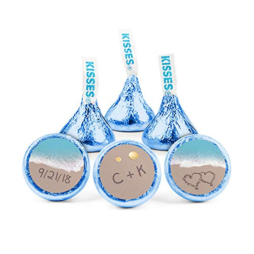 Personalized Wedding Stickers for Hershey's Kisses Beach Theme Favors (108 Count)]()