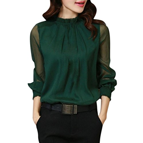 - Kangma Women Chiffon Elegant Loose Ruffles Long Sleeve Casual Tops Shirt Blouse Green