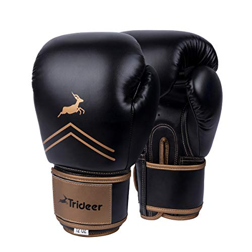 Trideer Pro Grade Boxing Gloves, Kickboxing Bagwork Gel Sparring Training Gloves, Muay Thai Style Punching Bag Mitts, Fight Gloves Men & Women (Black & Golden, 16 oz) (Pro Fight Gloves)
