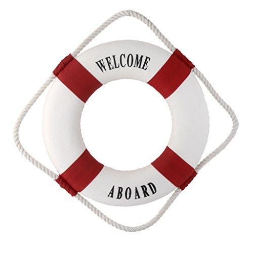 Bienvenidos Roja Nautica Barco Buque Decoracion De La Pared Anillo De La Vida Preservador Boya 20cm