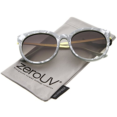 zeroUV - Womens High Fashion Oversized Marble Finish Metal Temple Round Sunglasses (Grey-Gold / - Marble Grey Temple