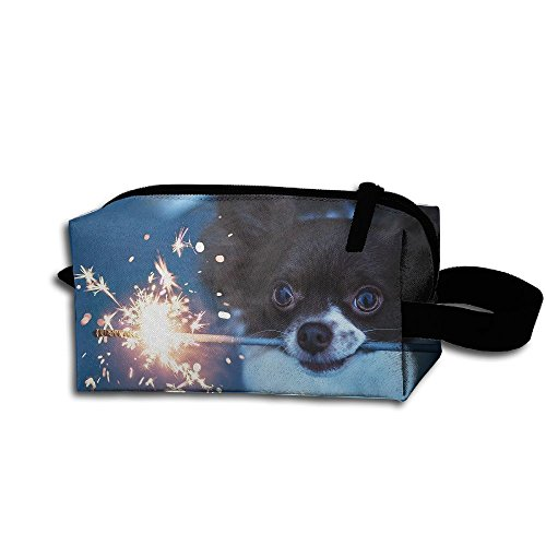 Makeup Cosmetic Bag Cute Dog Play Fireworks Medicine Bag Zip Travel Portable Storage Pouch For Mens Womens
