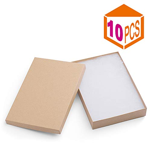 MESHA Cardboard Paper Box for Jewelry and Gift 8x5.5x1.25 Inch Thick White Paper Box With Cotton Lining (10pcs, brown)