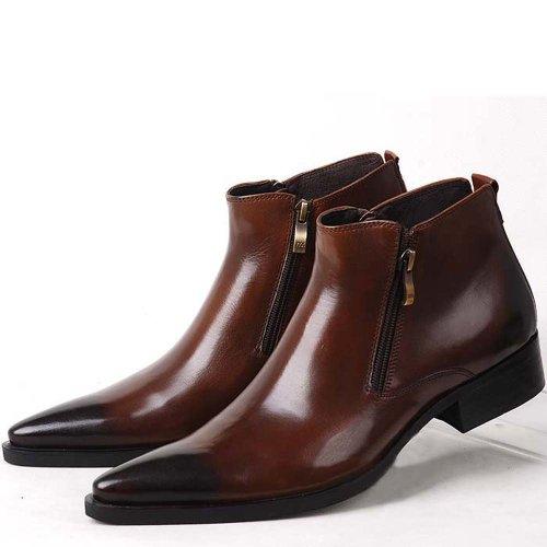 Fulinken Genuine Leather Pointed Toe Chat Zip Men Formal