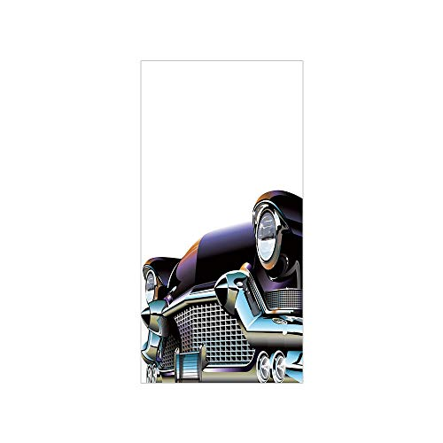 (3D Decorative Film Privacy Window Film No Glue,Cars,Old Fashioned Automobile Old Timer Antique American Collectors Vehicle Decorative,Black Pale Blue Orange,for Home&Office)