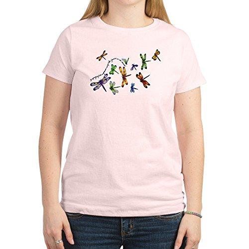 Royal Lion Women's Light T-Shirt Dragonflies Glide on Gossamer Wings - Light Pink, 2X