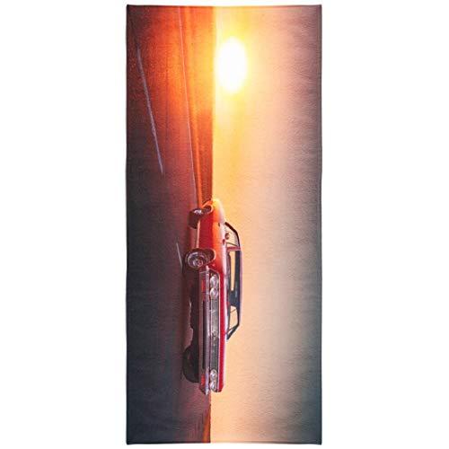 LILYMUA Classic Quick Dry Beach Towel,Microfiber Beach Towel, Russia June Retro Red Car Road Sunset Beach Blanket 30