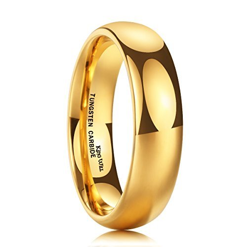 Yellow Gold Domed Wedding Band - King Will GLORY 6mm 24k Gold Plated High Polished Comfort Fit Domed Tungsten Ring Wedding Band(9.5)