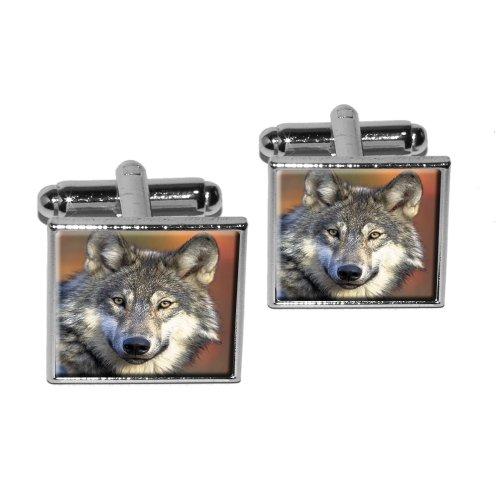 Gray Wolf Background Square Cufflink