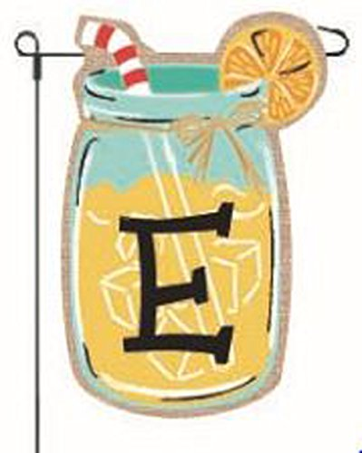 JEC Home Goods Home Garden Flags Monogram Lemonade Mason Jar Burlap Summer Garden Flag 12.5 x 18 (Letter E)