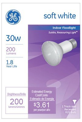 Ge R20 Reflector Floodlight Bulb 30 W 180 Lumens Med Base 3-15/16 In. Sleeved by GE Lighting (Med Reflector Bulb)
