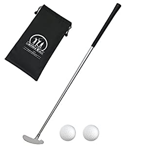 LEAGY 3 Sections Portable Best Two-Way Putter - Left And Right Hand - 2 Golf Balls Isolated On White Background - 1Pack Golf Bag by LEAGY