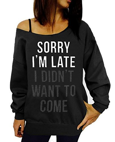 Lymanchi Women Printed Off Shoulder Pullover Slouchy Shirt Casual Sweatshirts D Black S ()