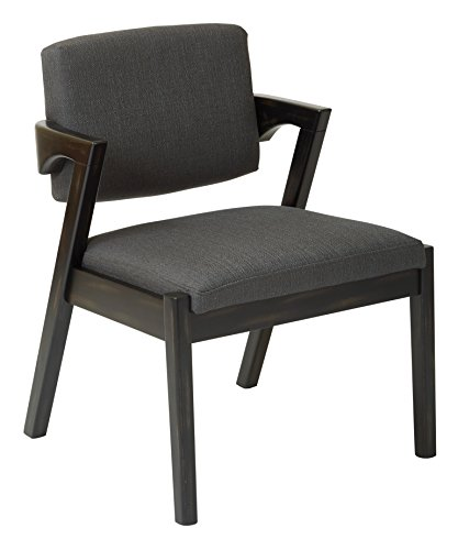 AVE SIX Reign Chair with Ebony Wood Finish, Klein Charcoal Fabric
