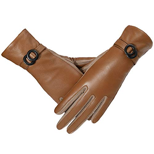 PAGE ONE women driving gloves,soft warm and touchscreen leather gloves brown(M)