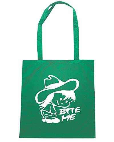 FUN1081 SAYS BITE Verde ME Shirt COWGIRL Shopper Speed Borsa 0qYgHI