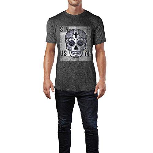 SINUS ART® Schwarzer mexikanischer Totenkopf Herren T-Shirts in dunkelgrau Fun Shirt mit tollen Aufdruck