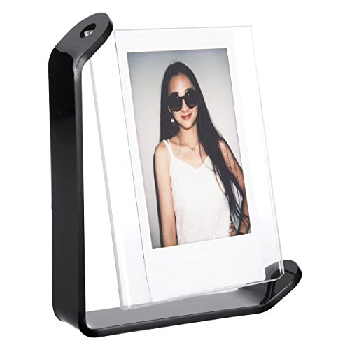 Woodmin Tabletop Spinning Acrylic Photo Frame for Fujifilm Instax SQUARE SQ10 Films (Black) (Shape Magnetic Picture Frame)