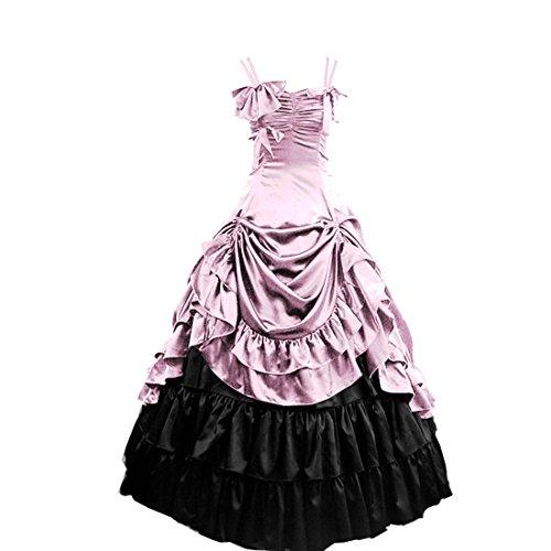 gotische Lolita Kleid viktorianische aermellose Partiss Abendkleid Pink Ballkleid Ruffles Damen qUwFx1cnt