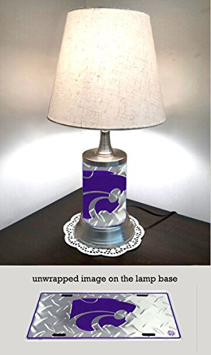 s Lamp with shade, lamp base wrapped with diamond metal plate (Kansas State Wildcats Lamp)