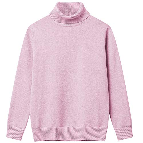Girl Sweaters Pullover Turtleneck Knitted Long Sleeve Solid Color Kids Winter Tops Clothes Pink