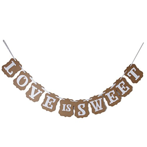 Pixnor LOVE IS SWEET Vintage Wedding Bunting Banner Photo Booth Props Signs Garland Bridal Shower Wedding ()