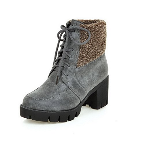 AgooLar Women's High-Heels Solid Round Closed Toe PU Lace-up Boots Gray TXsOdGwn