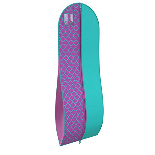 Gusseted Garment Bag - For Prom Dresses and Bridal Wedding Gowns - Travel Folding Loop, ID Window - 72'' x 24'' - Tiffany Blue and Purple Quatrefoil - Panel Print Collection by Your Bags by Your Bags
