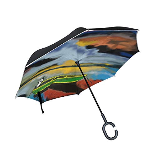 Double Layer Inverted Dusk Boat Evening Sky Lichtspiel Atmospheric Ship Umbrellas Reverse Folding Umbrella Windproof Uv Protection Big Straight Umbrella For Car Rain Outdoor With C-shaped Handle