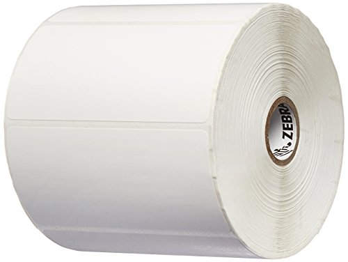 Zebra Technologies 10009530 Z-Select 4000T Paper Label, Thermal Transfer, Perforated, 4'' x 2'', 1'' Core, 5'' OD, 1370 Labels per Roll (Pack of 6) by Zebra Technologies